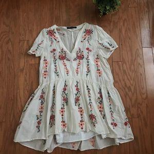 Zara Drop Waist Embroidered Dress Short Sleeves